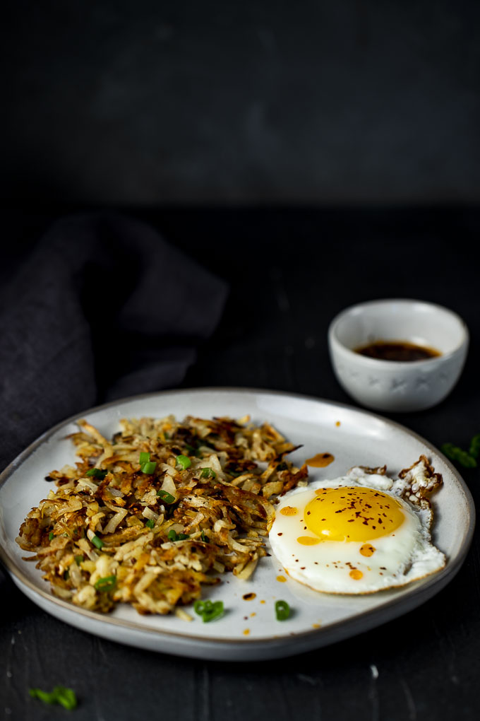 hashbrowns with eggs and chili oil