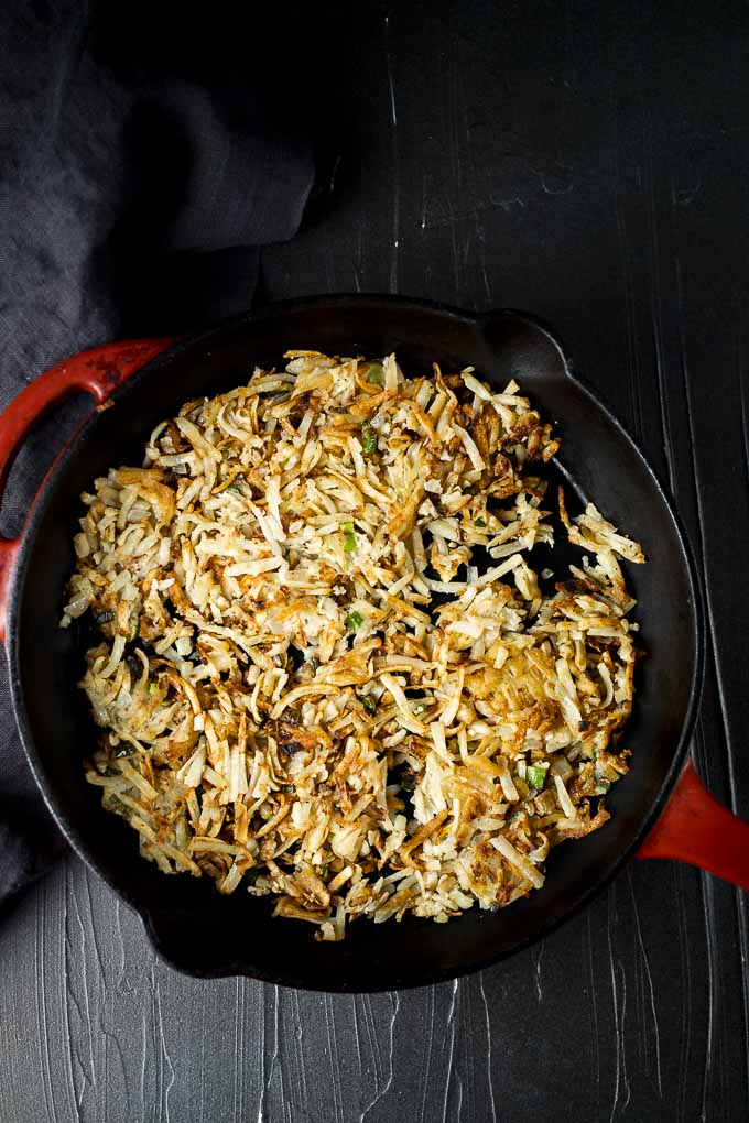 crospy hash browns in a skillet