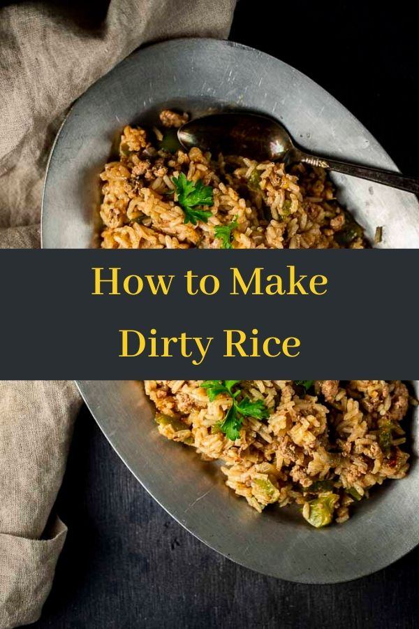 Learn how to make this classic Cajun style Dirty Rice from scratch - it\'s easy and delicious! Only 30 minutes to make and packed full of rich, spicy flavor! Dirty Rice is a Cajun style rice made with white rice, ground liver and pork, spices and seasoning. Chicken livers offer the perfect deep flavor to the rice (even for you non-liver lovers). Check out this step by step instructions on how to make Dirty Rice. #wenthere8this #dirtyrice #cajunrice #cajundirtyrice