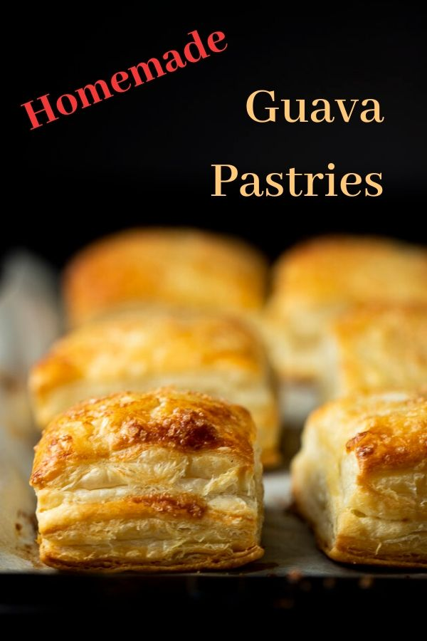 These Pastelitos De Guayaba (Cuban Guava Pastry) are filled with sweet, gooey guava paste and sweetened cream cheese and baked until golden brown, resulting in a creamy, gooey, flaky, deliciously sweet pastry. You\'ll wonder how you ever lived without these in your life!! Made with a touch of sweet cream cheese and guava paste stuffed in flaky puff pastry and sprinkled with sugar, these guava pastries are incredible! #wenthere8this #pastelitosdeguayaba #guavapastry #guavacheesepastry