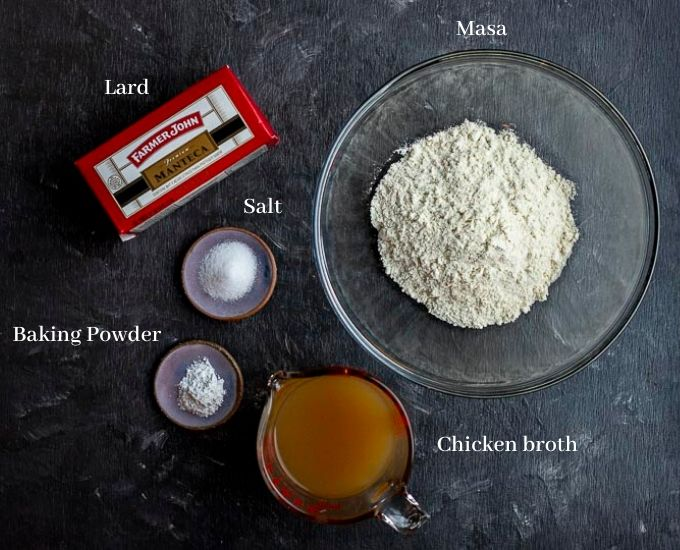 ingredients for masa dough on a board