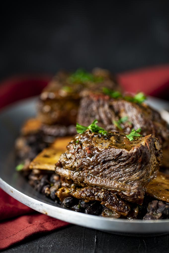 short rib over black beans