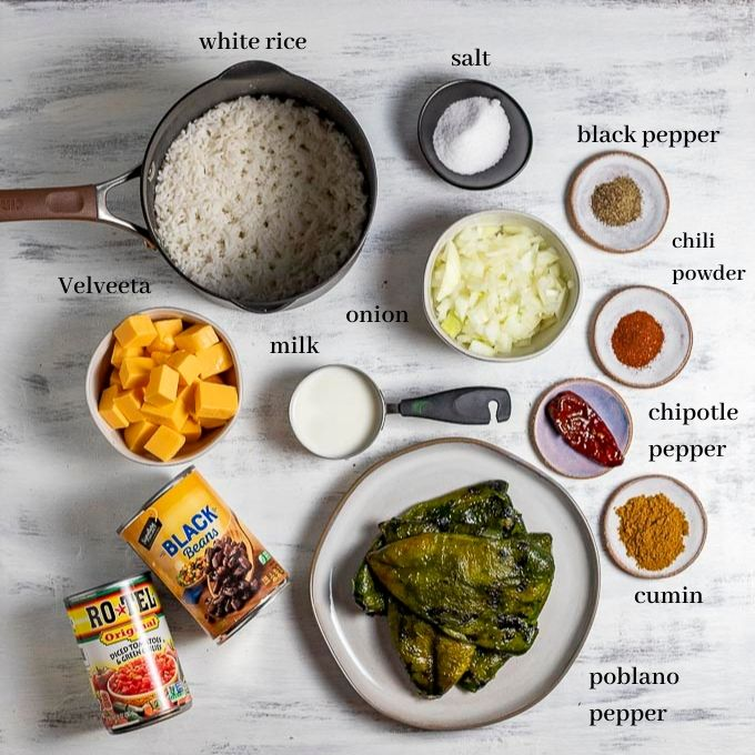ingredients for stuffed poblano peppers