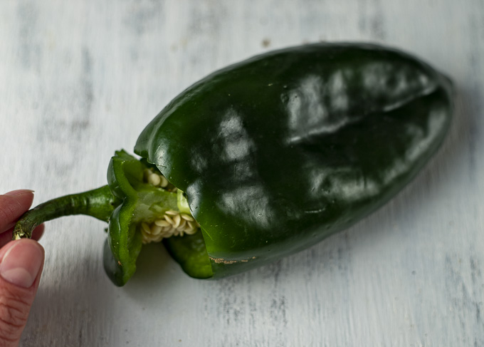 poblano pepper with stem and seeds removed