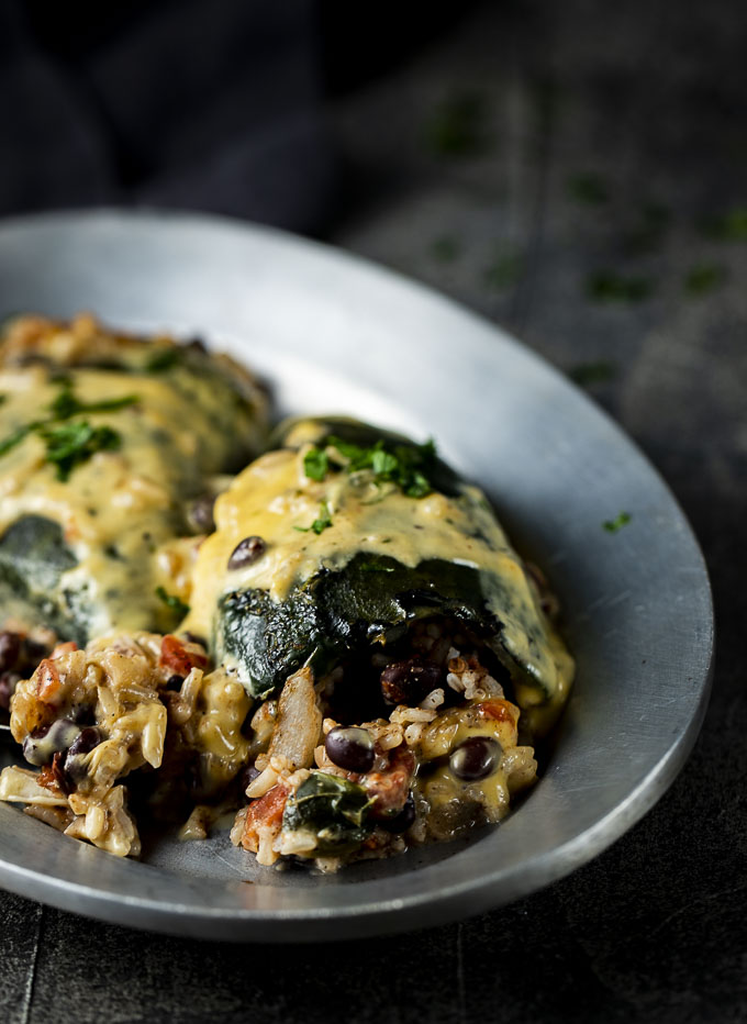 poblano peppers stuffed with rice and bean mixture