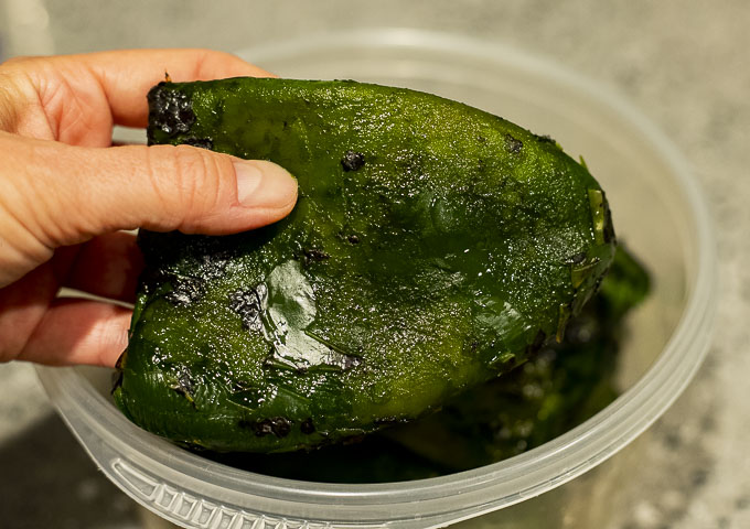 roasted and peeled poblano pepper