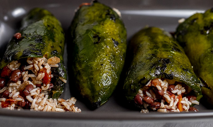 poblano peppers stuffed with bean and rice mixture