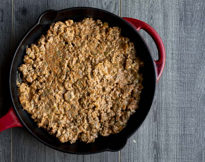 ground beef mixture in a cast iron skillet