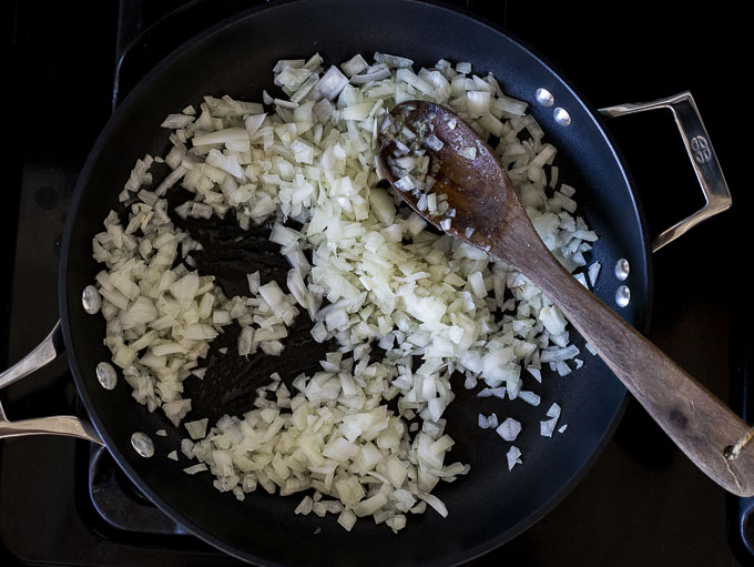 onions sauteing in