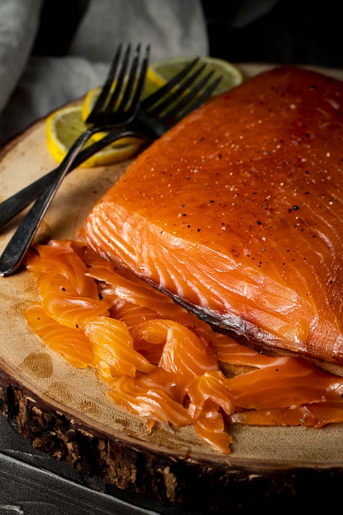slices of cured salmon on a platter