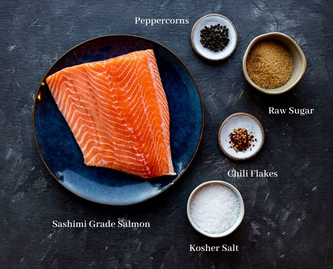 ingredients for cured salmon on a board with titles