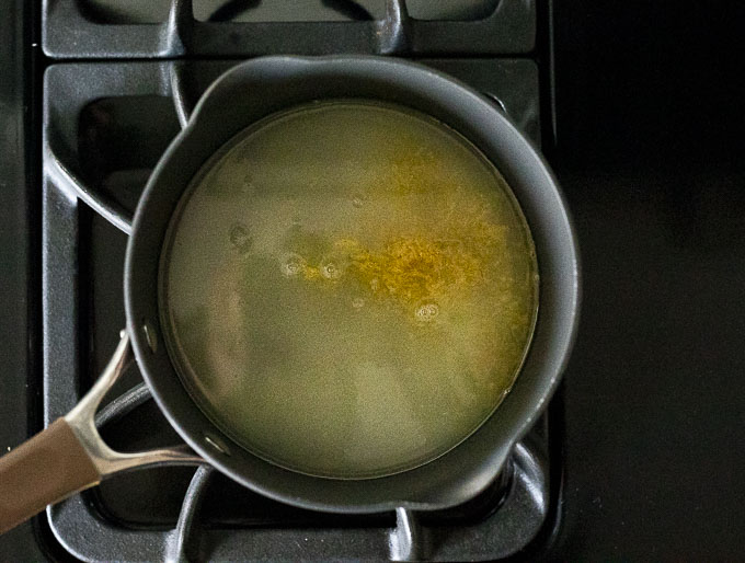 lime juice and zest in a saucepan