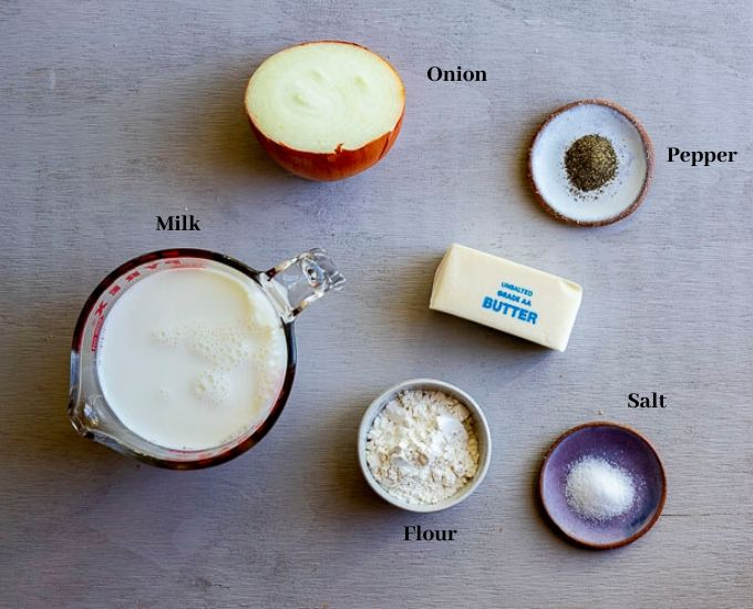 ingredients with names on a surface