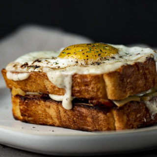 side view of a croque madame