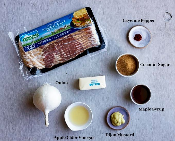 ingredients for bacon onion jam