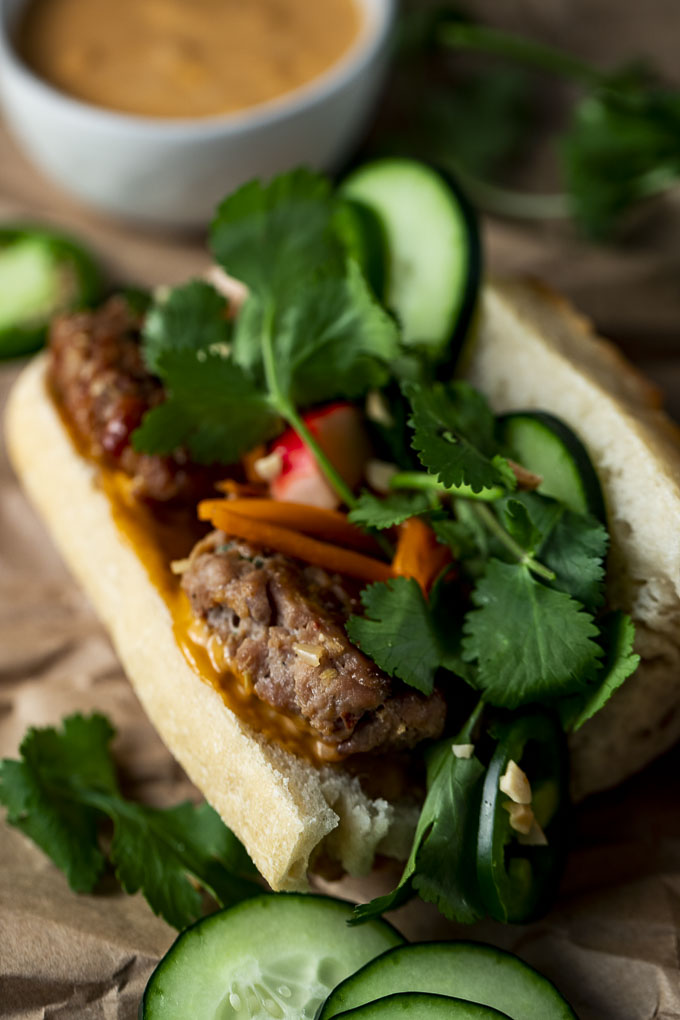 sandwich with herbs, meatballs and vegetables