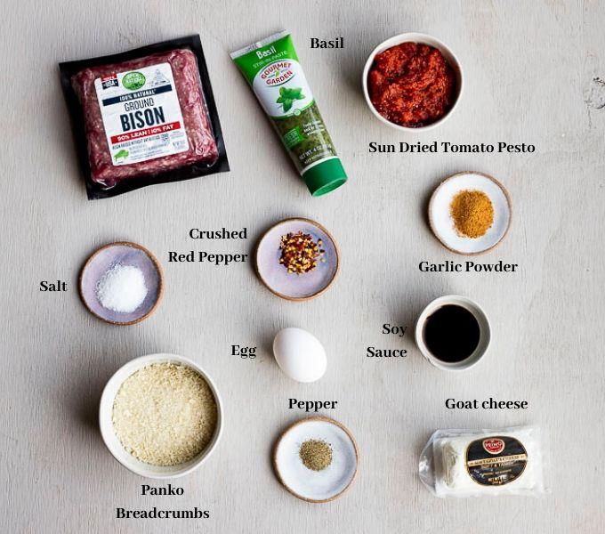 ingredients for bison burgers
