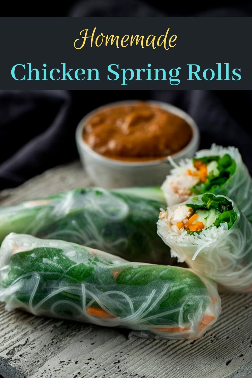 Chicken Summer Rolls with Peanut Sauce