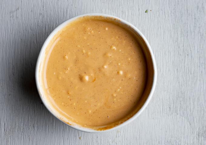 orange sauce in a bowl
