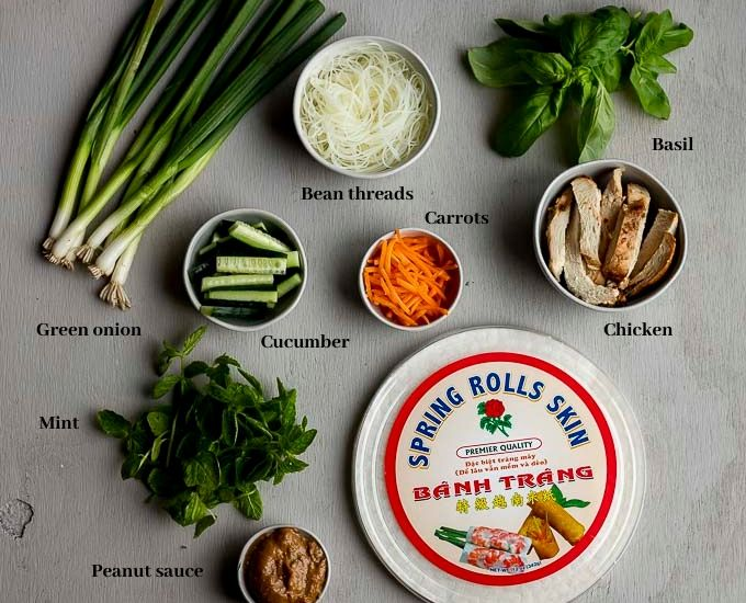 ingredients for chicken summer rolls