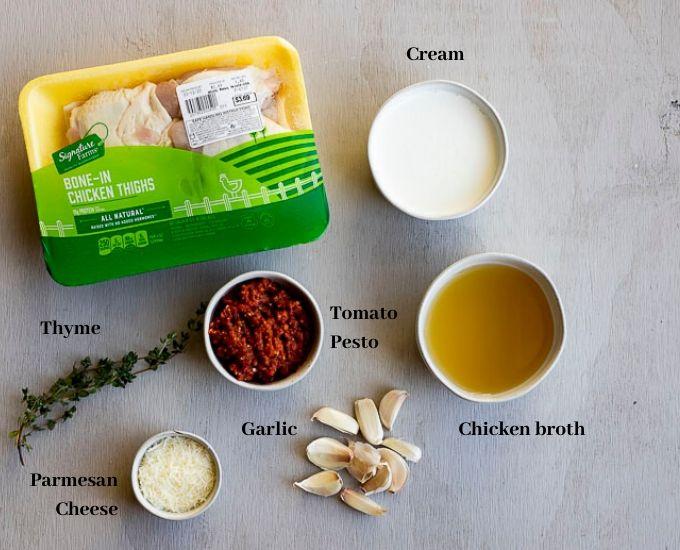 ingredients for pesto chicken