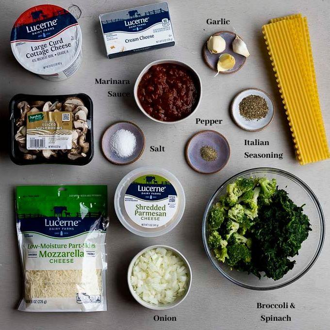 ingredients for vegetable lasagna
