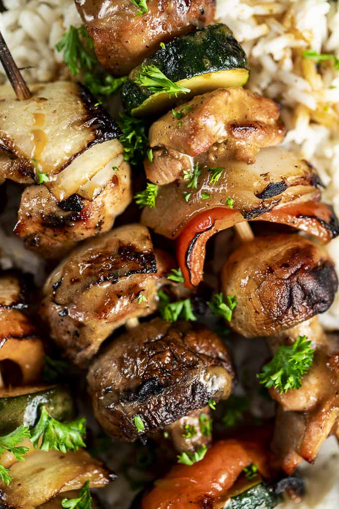 grilled vegetables and chicken close up photo