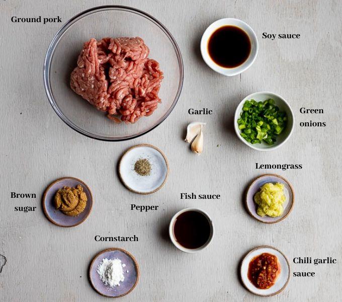 ingredients for vietnamese pork meatballs