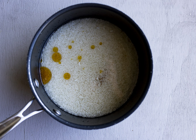 rice and liquid in a pot