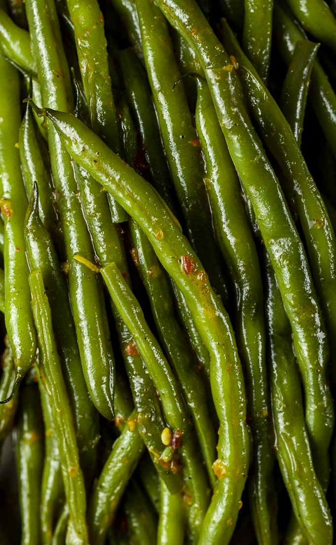 close up photo of braised green beans