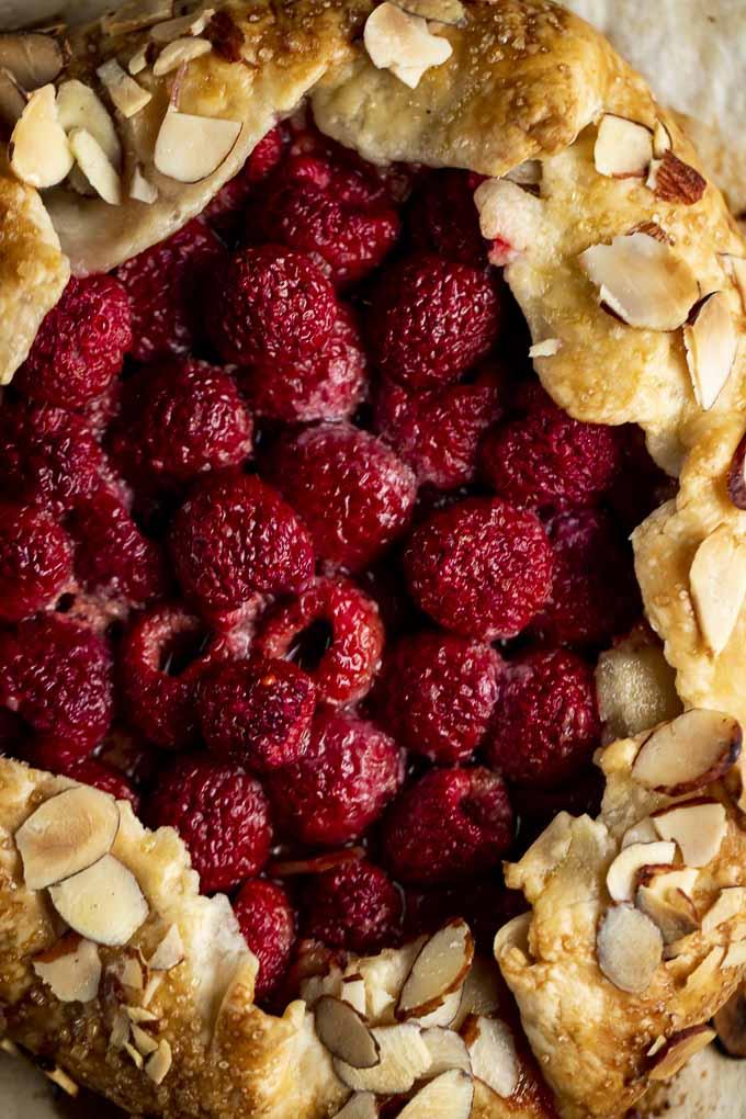 raspberries bakes in a pie crust