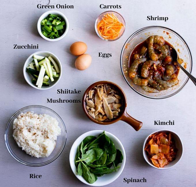 ingredients for bibimbap