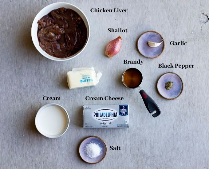 ingredients for chicken liver mousse