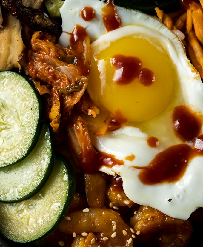 kimchi, cucumber and egg with red sauce