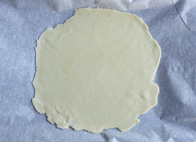 pie crust on parchment paper