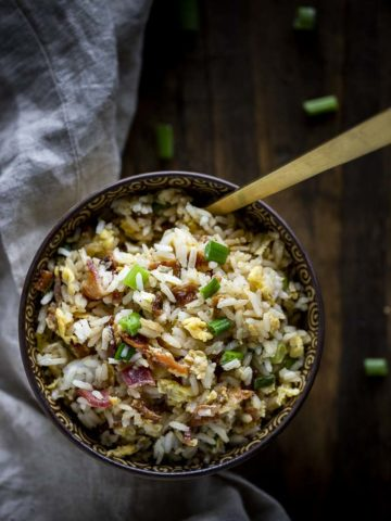bowl of fried rice with a spoon