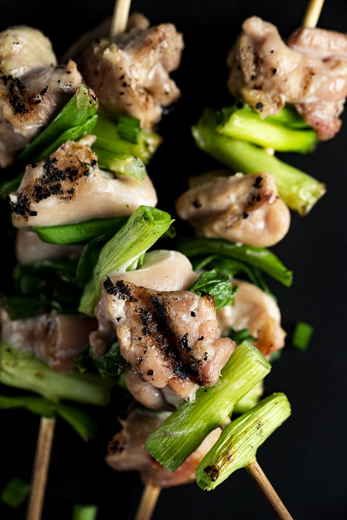 chicken and green onions on skewers
