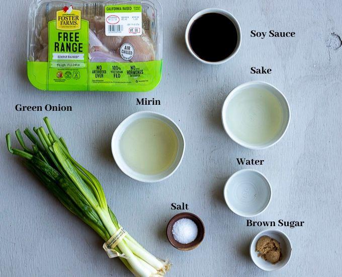 ingredients for chicken yakitori