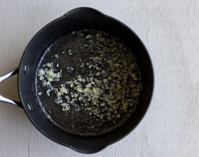 chopped garlic in a saucepan
