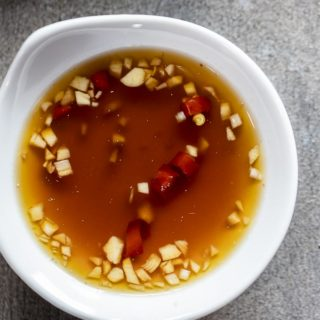 small bowl of nuoc cham dipping sauce