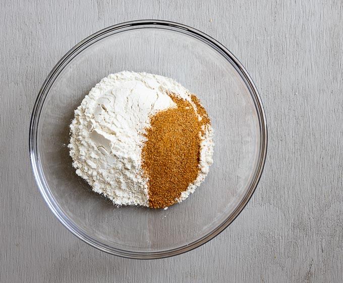flour and orange seasonings in a bowl
