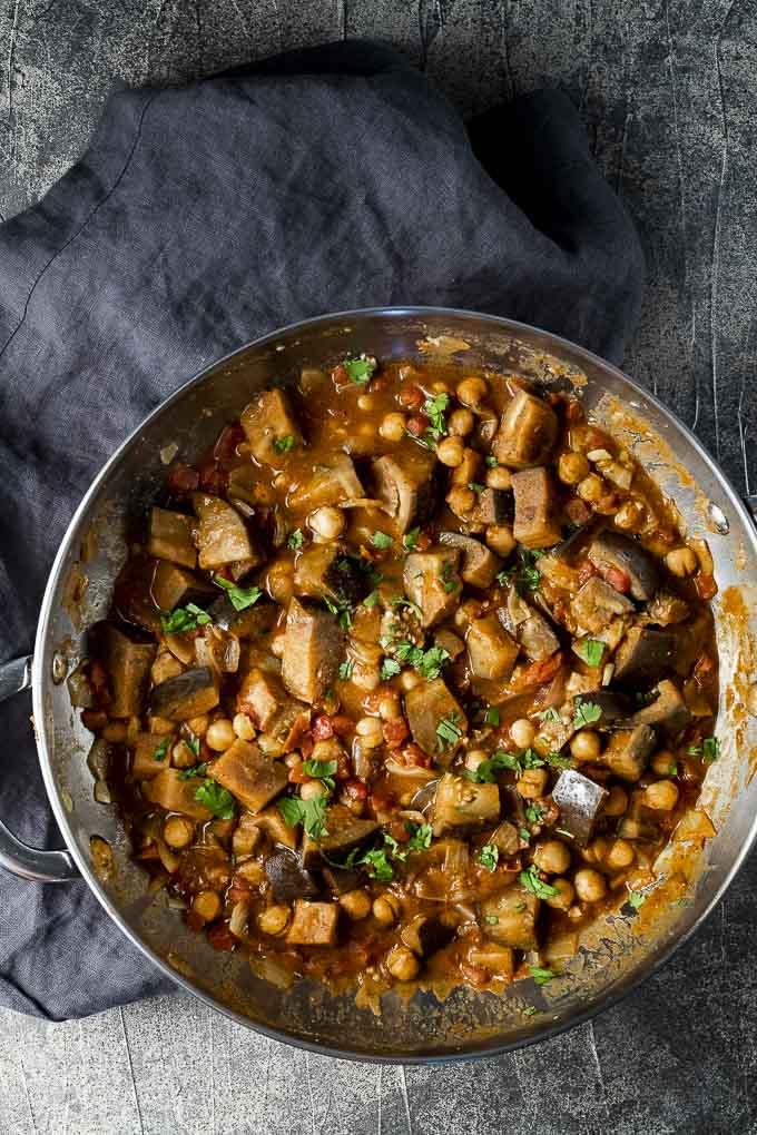 eggplant curry in a skillet