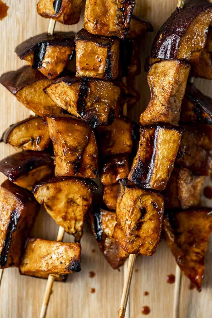 grilled eggplant on skewers