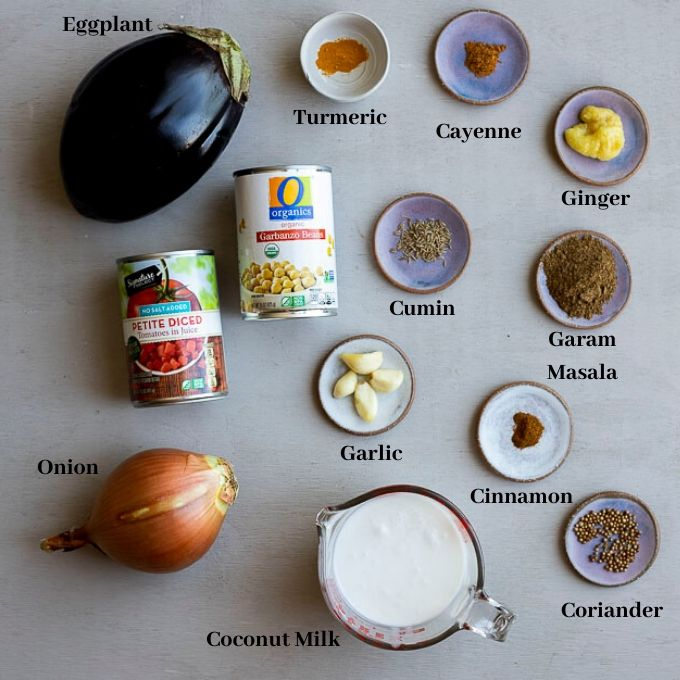 ingredients for eggplant curry