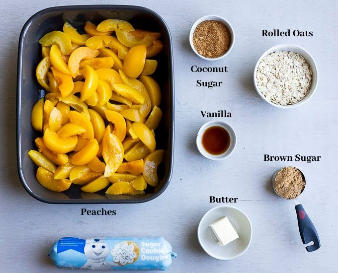 ingredients for peach cobbler