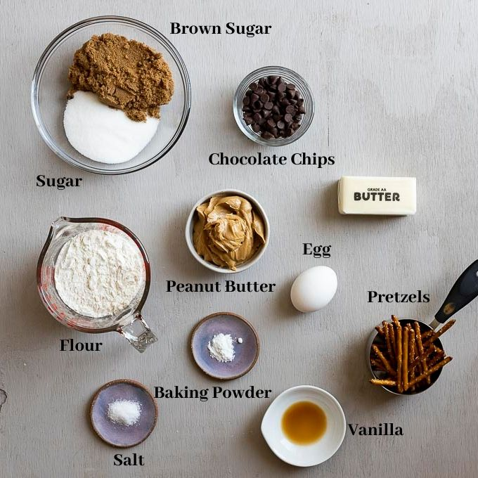 ingredients for peanut butter cookie bars