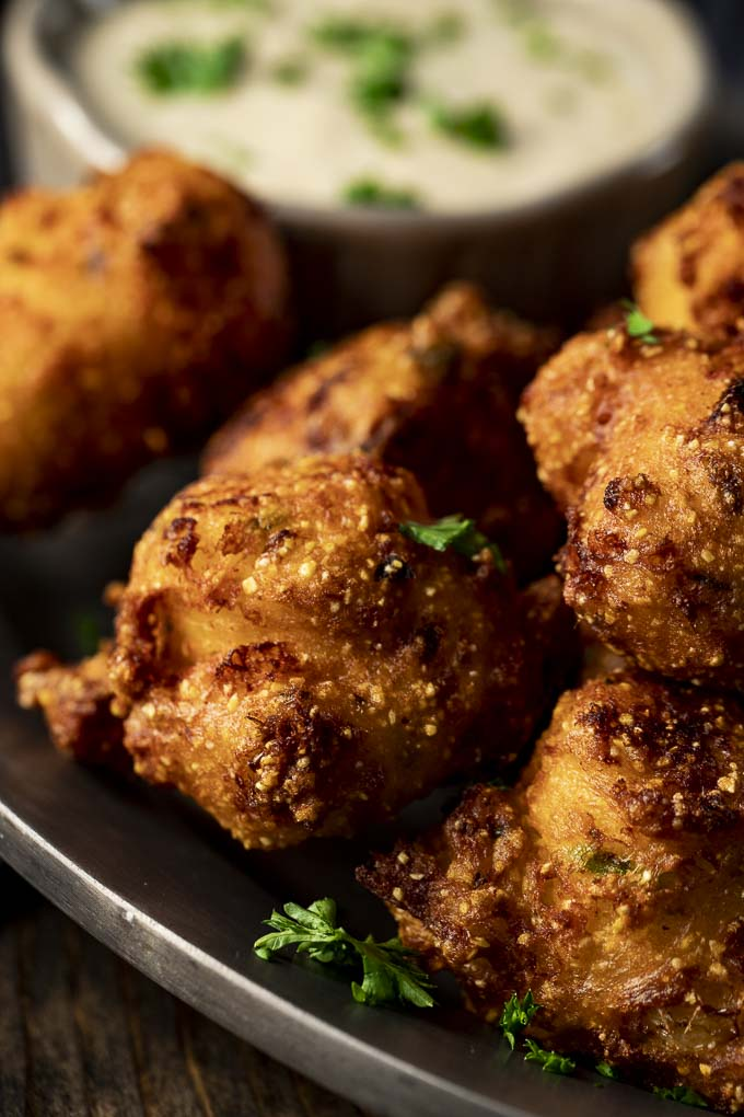 a plate of fried hushpuppies