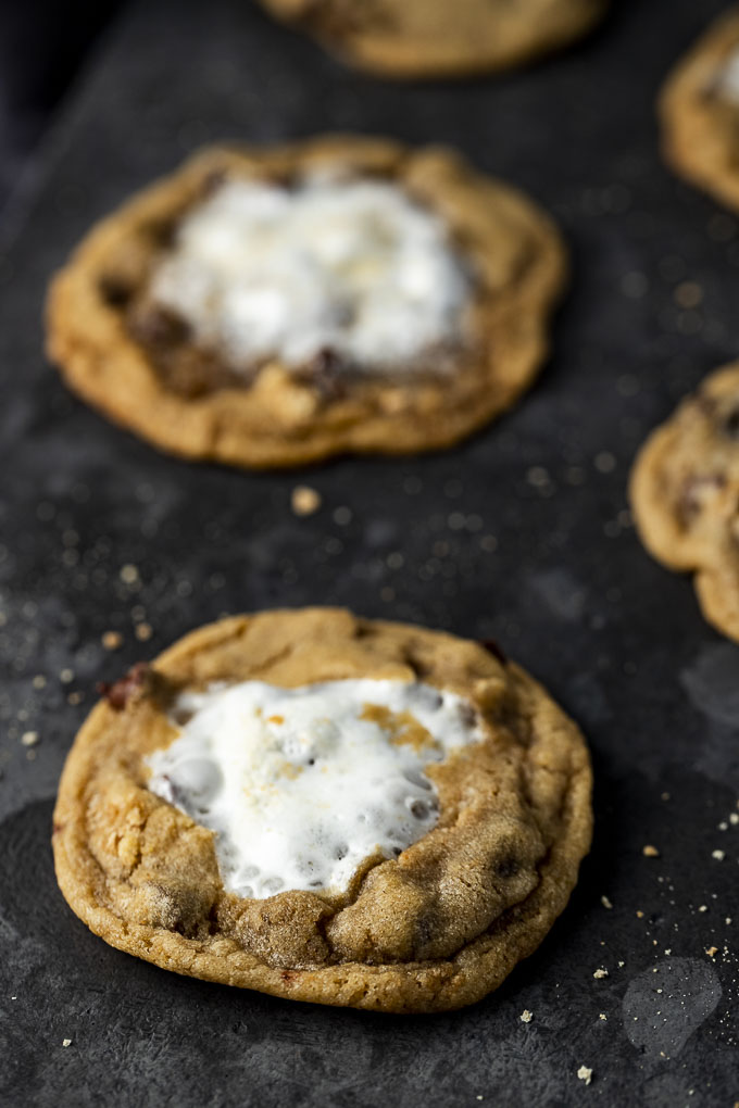 smores cookies with marshmallow filling on a plate