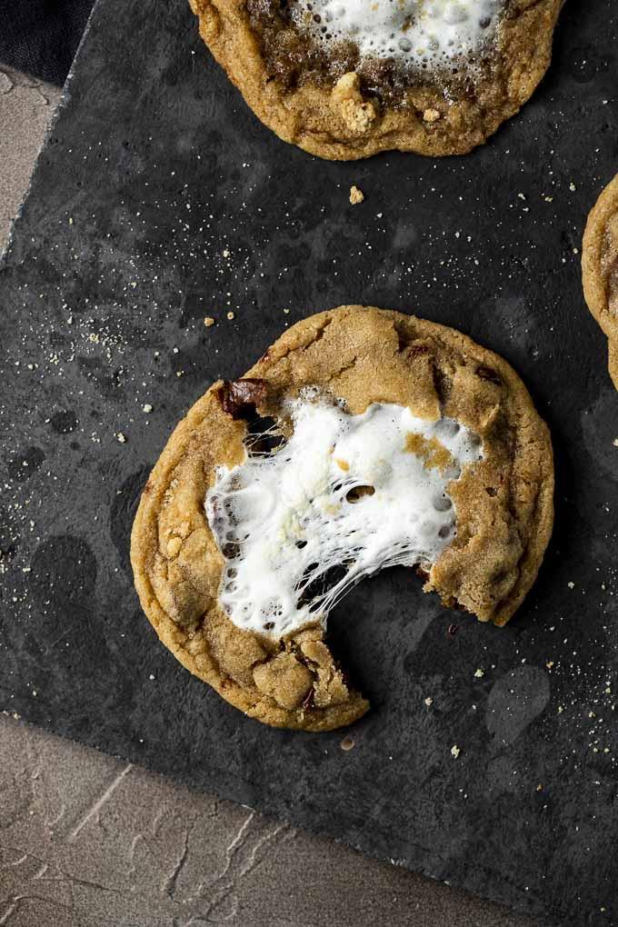 marshmallow filled cookie broken on a platter