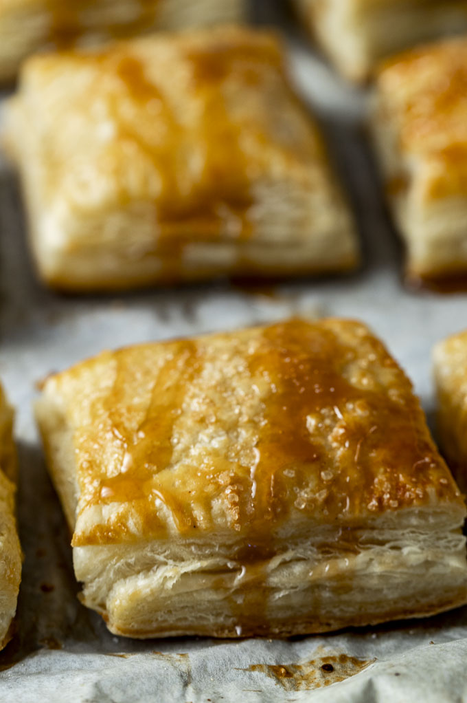 puff pastry on a baking sheet